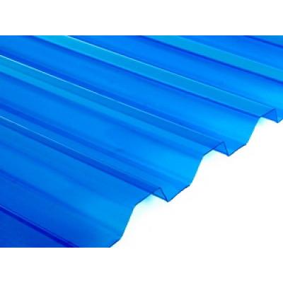 Профилированный поликарбонат 0,9мм. Синий колотый лед.