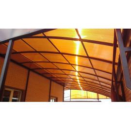 Сотовый поликарбонат 4 мм янтарь (коричневый), 12 м
